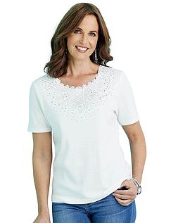 Lace Neck T-Shirt