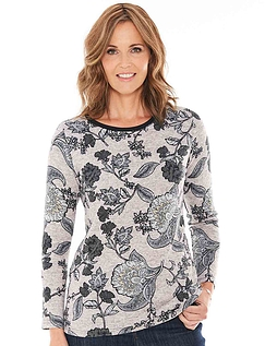 Warm Handle Print And Diamante Top