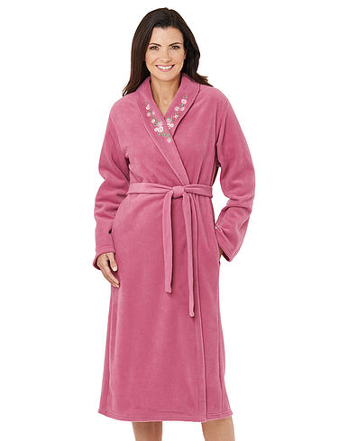 Embroidered Fleece Dressing Gown