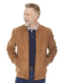 Faux Suede Mens College Jacket