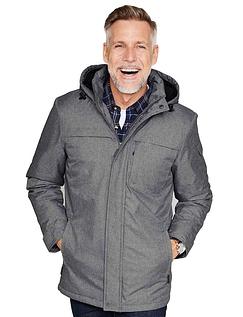 Fleece Lined Hooded Marl Jacket