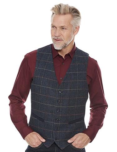 Tweed Waistcoat - Navy