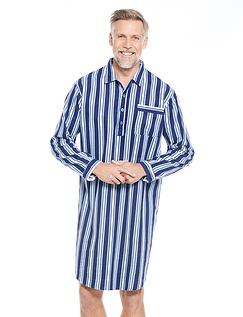 Mens Brushed Cotton Stripe Night Shirt