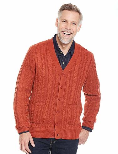 Shetland Wool Blend Cable Cardigan