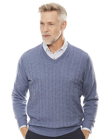 Cashmere Like V Neck Cable Sweater