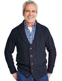 Shawl Collar Cable Knitted Cardigan