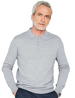 Long Sleeve Cotton Jumper With Zip Neck & Collar