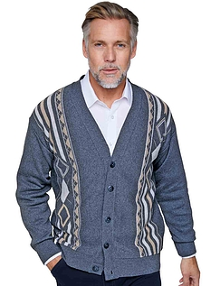 Mens Tootal Contrast Jacquard Cardigan - Airforce