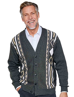 Mens Tootal Contrast Jacquard Cardigan - Charcoal