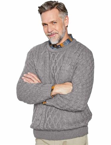 Aran Style Crew Neck Sweater