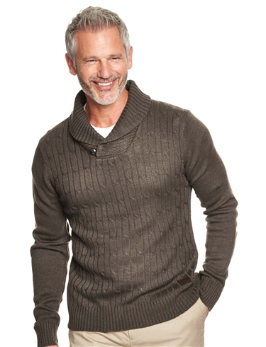 Shawl Collar Sweater With Contrast Elbow Patches