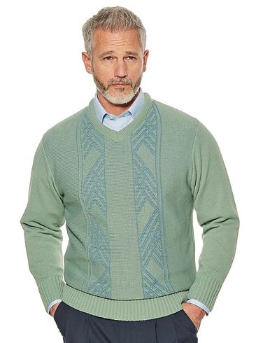 Woodville Jacquard V-Neck Sweater
