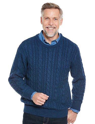 Pegasus Shetland Wool Blend Cable Sweater