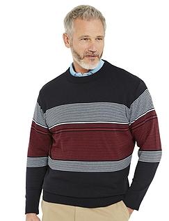 Pegasus Multi Stripe Crew Neck Sweater
