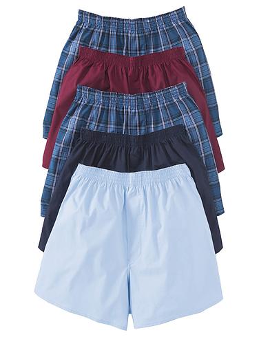 Pack Of 5 Plain Woven Boxer Shorts