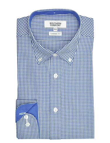 Southern Comfort Long Sleeve Check Shirt With Button Down Collar