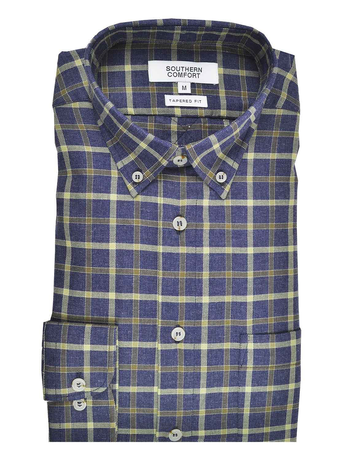 Southern Comfort Long Sleeve Twill Large Plaid Shirt - Olive