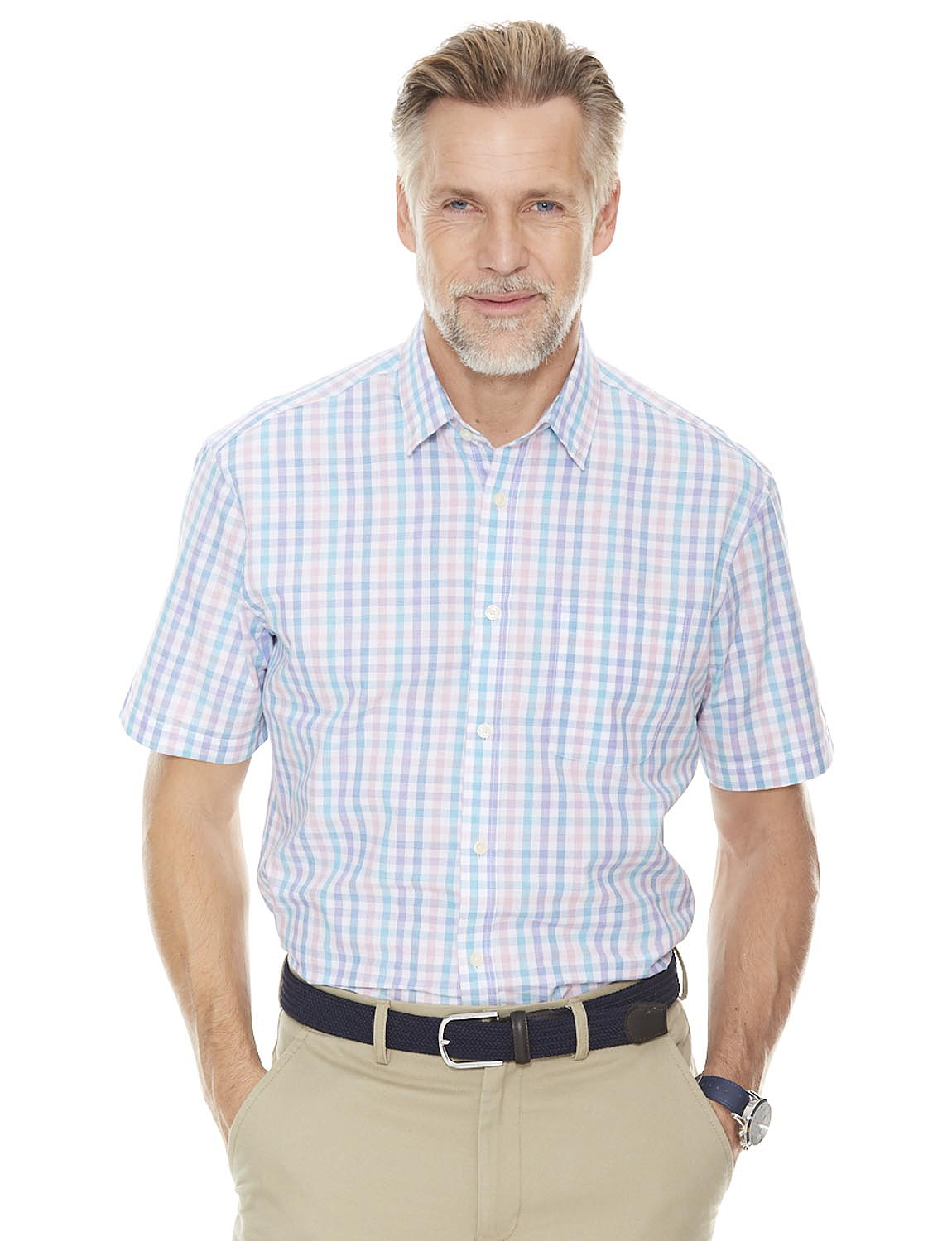 Gingham Check Short Sleeve Shirt with Chest Pocket - MULTI