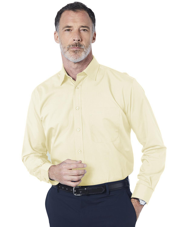 Double Two Non-Iron Long Sleeved Shirt - Lemon