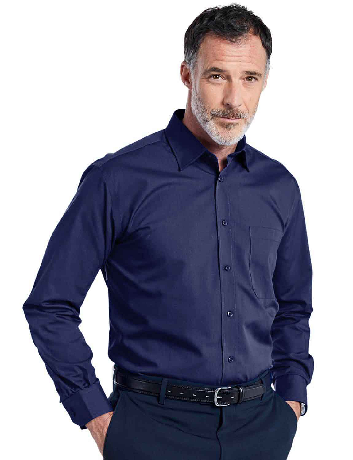 Double Two Non-Iron Long Sleeved Shirt - Navy