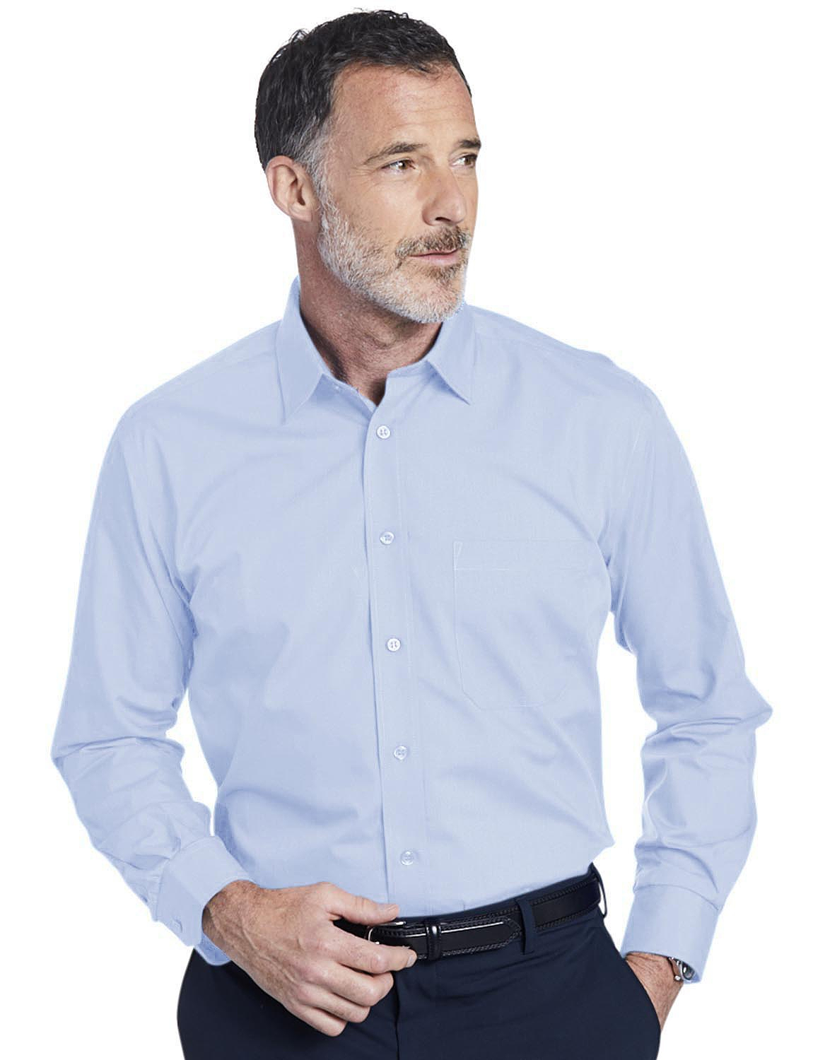 Double Two Non-Iron Long Sleeved Shirt - Sky Blue