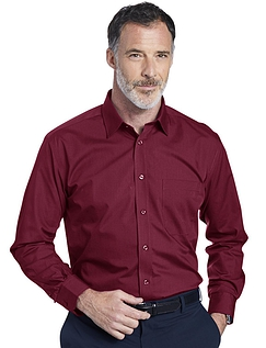Double Two Non-Iron Long Sleeved Shirt - Wine
