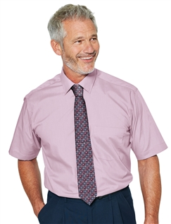 Short Sleeve Poly/ Cotton Shirt with Free Tie
