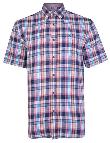 Peter Gribby Linen Short Sleeve Check Shirt