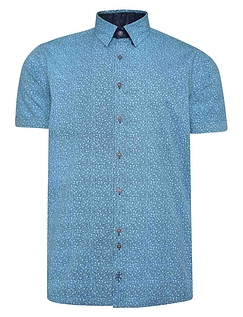 Seed Print Short Sleeve Shirt With Button Down Collar