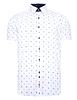 Crest Print Short Sleeve Shirt With Button Down Collar