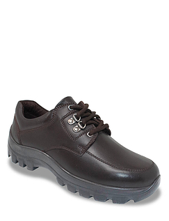 Mens Leather Wide Fit Lace Wide Fit Walking Shoe
