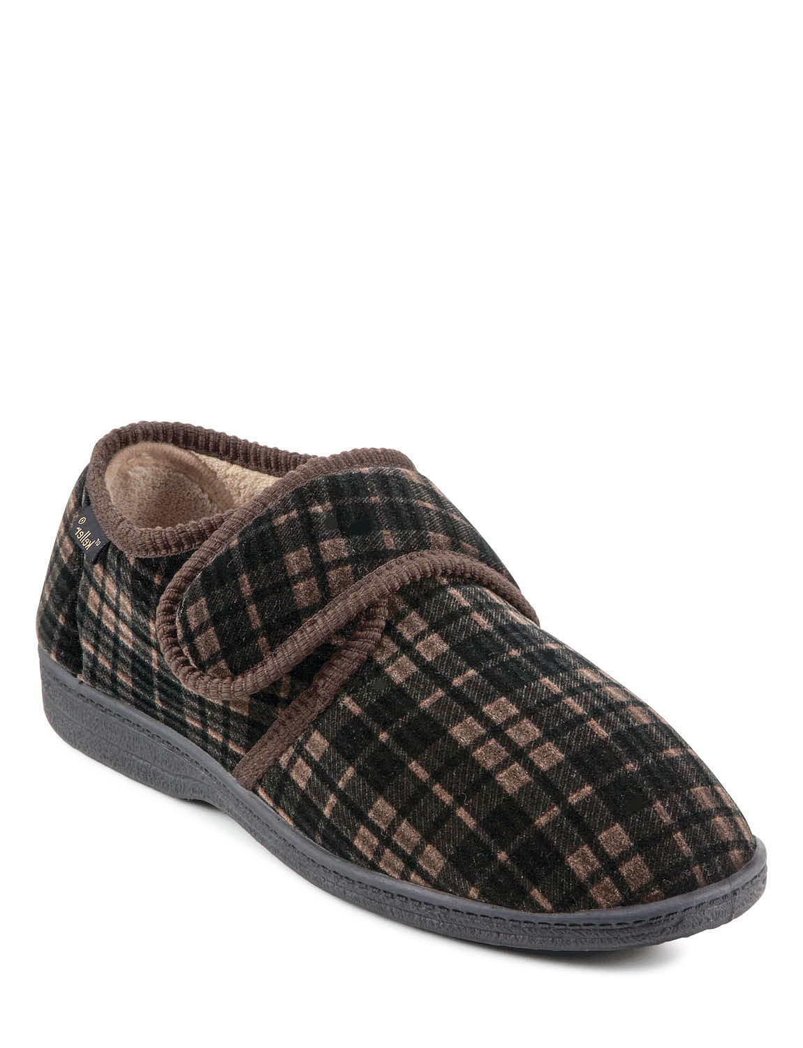 Dr Keller Wide Fit Touch Fasten Slipper - Brown