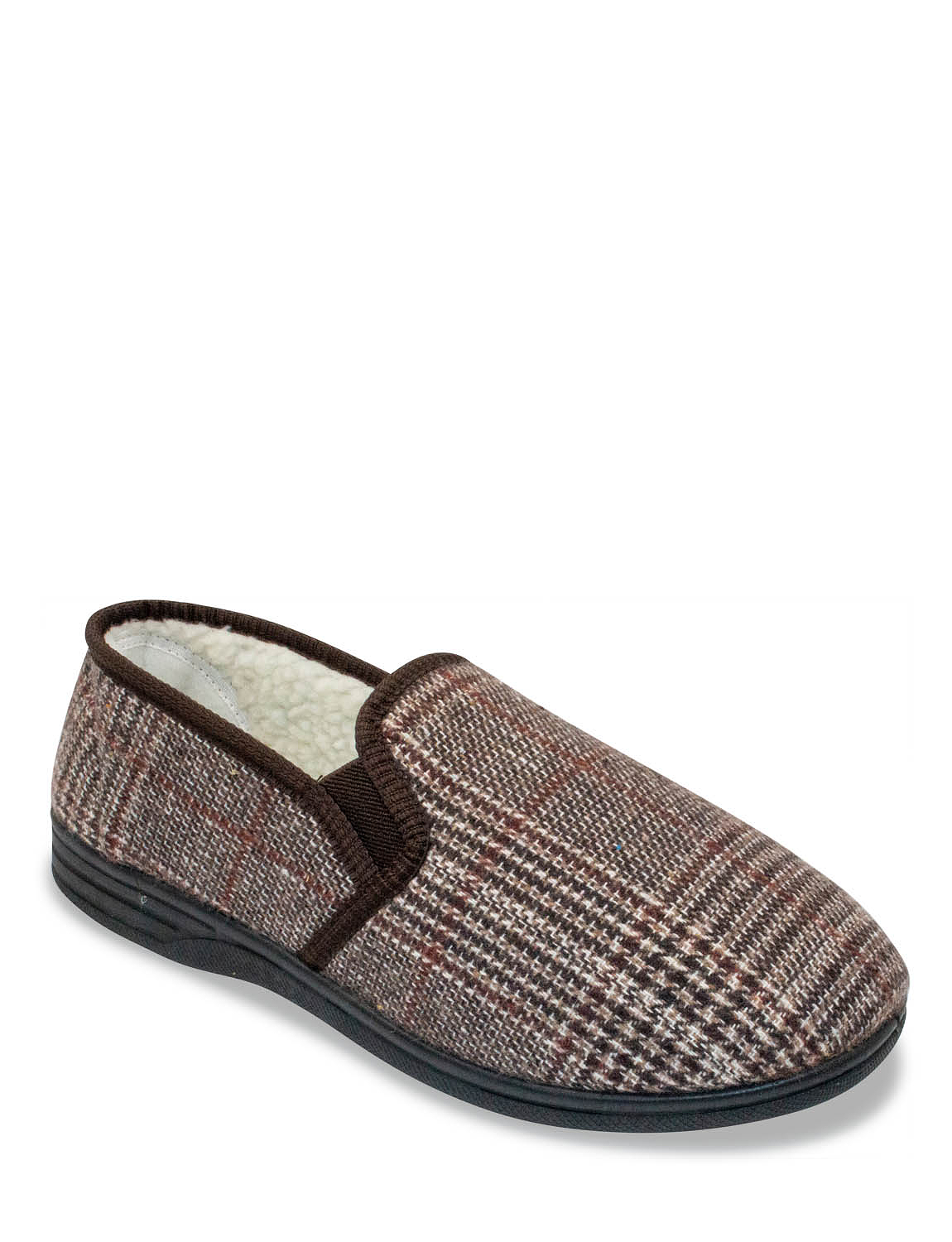 Fleece Lined Slipper with Outdoor Sole - Brown