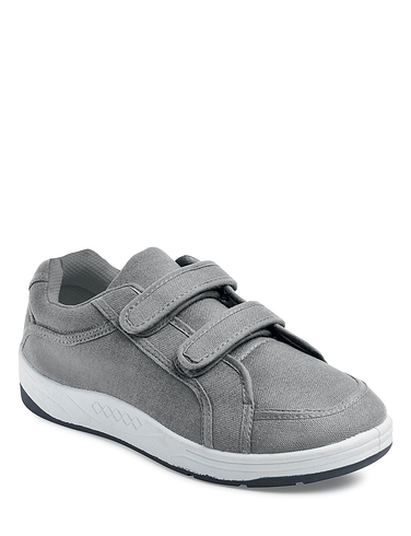 Wide Fit Canvas Trainer With Touch Fasten Straps