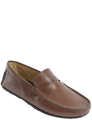 Wide Fit Leather Driving Loafer