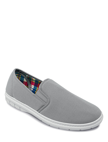 Canvas Wide Fit Elastic Gusset Slip On Shoe