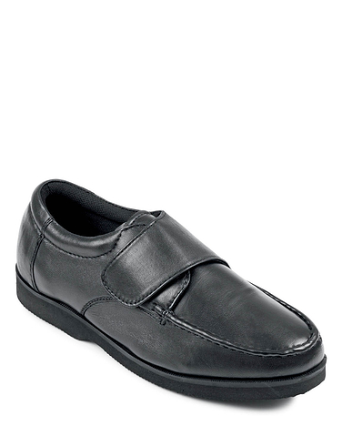 Leather Wide Fit Touch Fasten Shoe