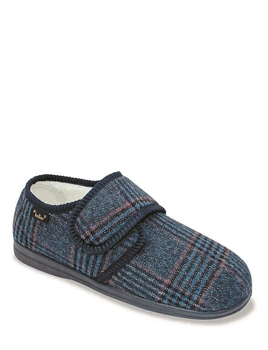 Dr Keller Wide Fit Thermal Lined Touch-Fasten Slipper