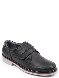 Leather Touch Fasten Shoe With Leather Grained Upper
