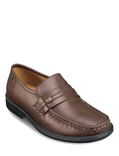Leather Wide Fit Slip On Moccasin