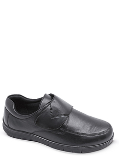 Leather Touch Fasten Wide Fit Shoe