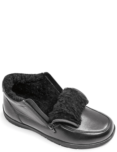 Leather Twin Zip Fleece Lined Wide Fit Boot