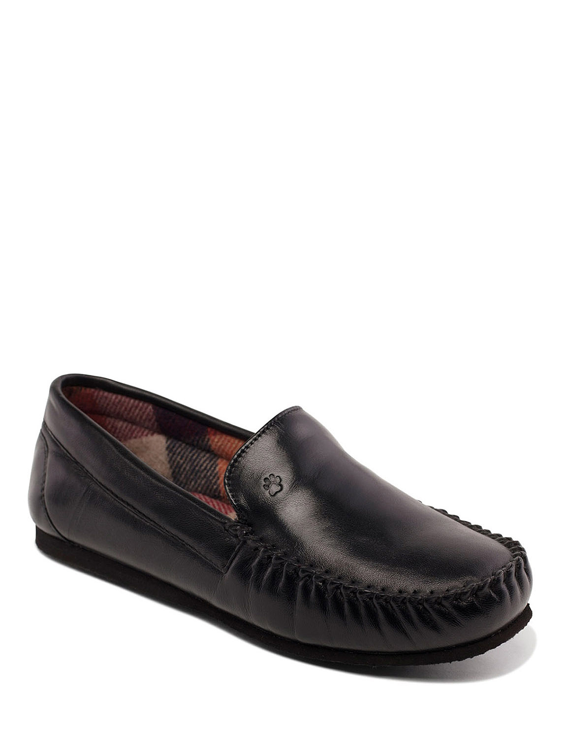 Padders Marino Leather G Fit Slipper With Memory Foam - Black