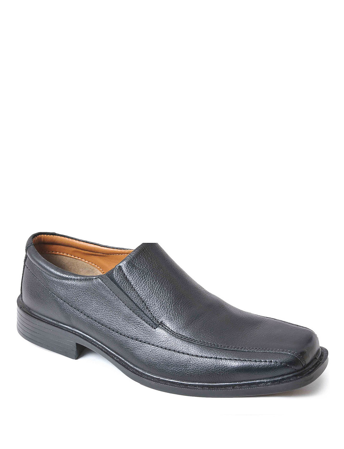 Wide Fit Leather Slip On Shoes - Black