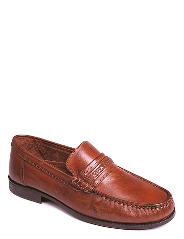 Leather Slip-On Moccasin Shoe - tan