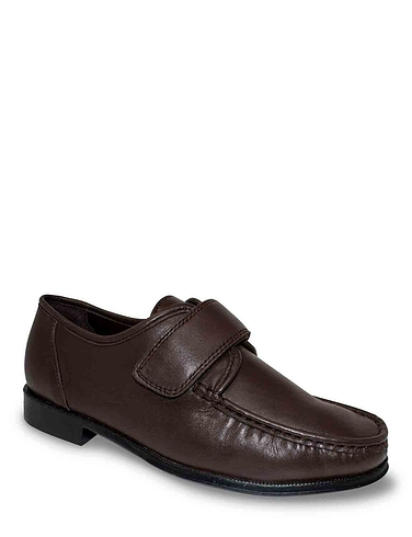 Mens Leather Wide Fit Touch Fasten Shoe