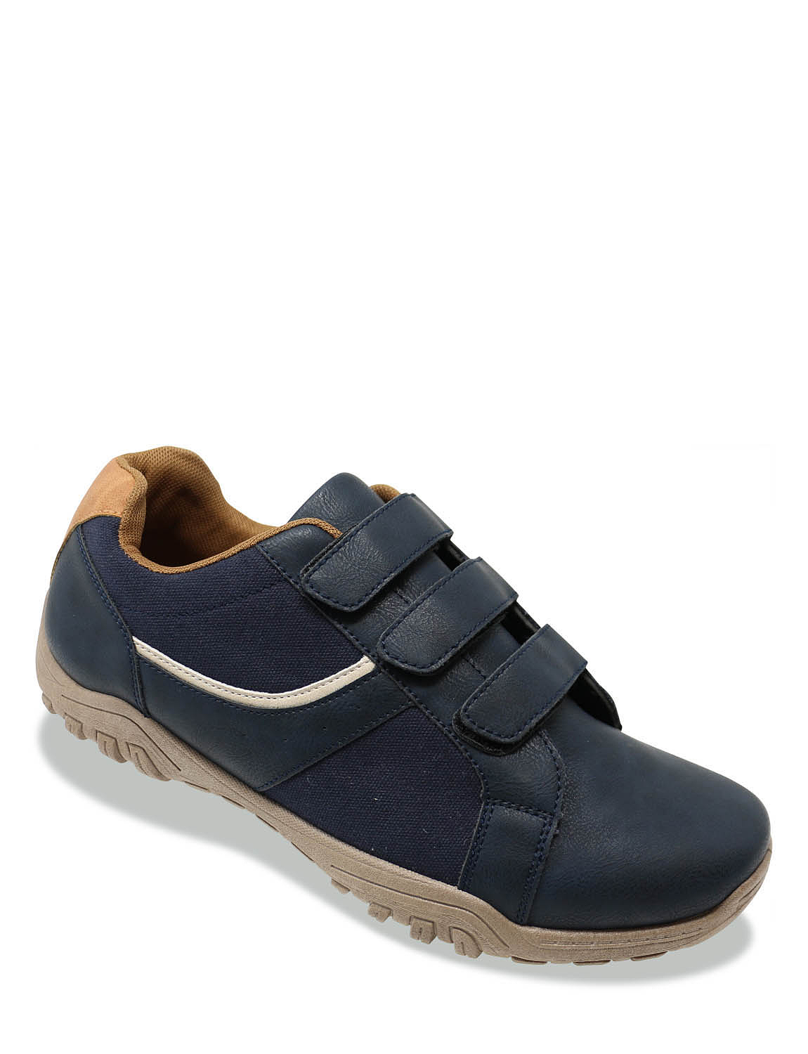Pegasus Touch Fasten Wide Fit Trainer - Navy