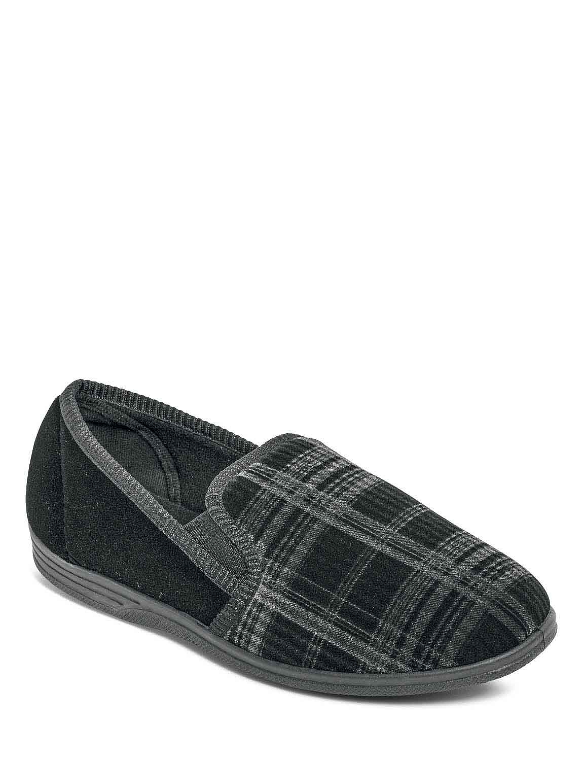 Washable Wide Fit Velour Slipper - Black