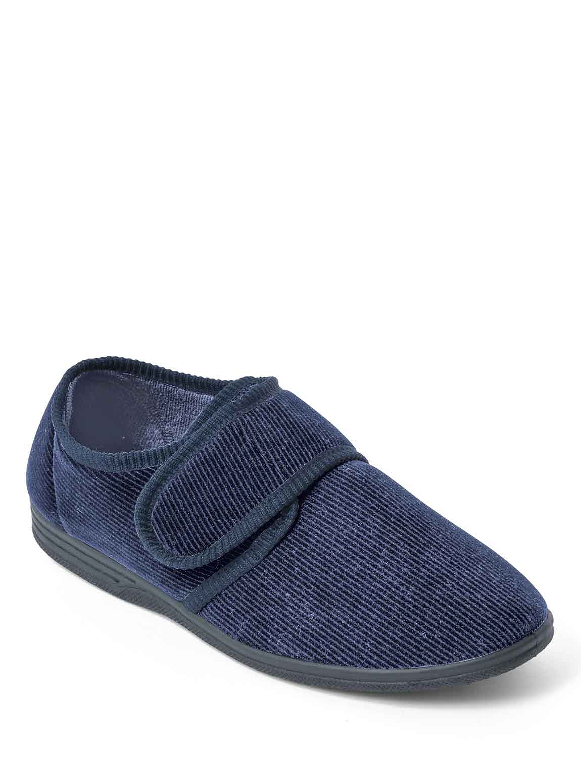 Touch Fasten Wide Fit Washable Slipper - Navy