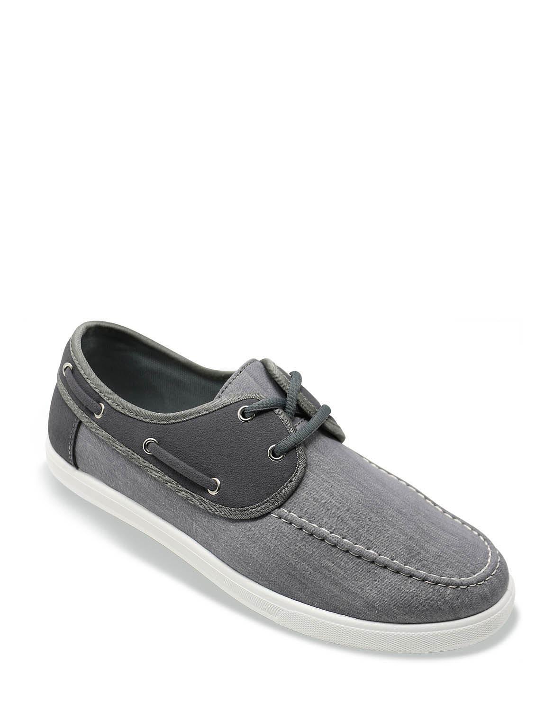 Dr Keller Wide Fit Canvas Lace Boat Shoe - Grey